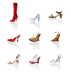 Shoe and boot icons vector