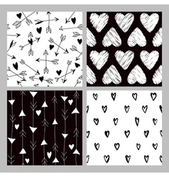 Valentines Day Heart Patterns - 4 Seamless Pattern vector image