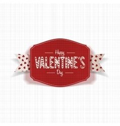 Realistic valentines day red card with ribbon vector