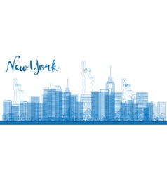 Abstract outline new york city skyline vector