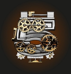 5 letter with gears vector image