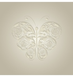 Paper butterfly on beige background vector
