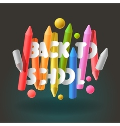 Back to school background with colorful crayons vector image
