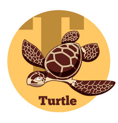 Abc cartoon turtle vector