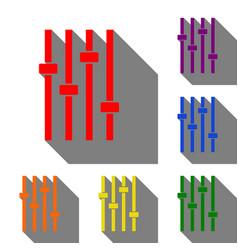 Adjustment music line sign set of red orange vector