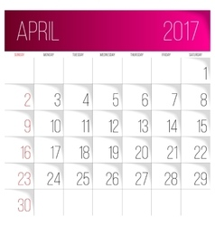 April 2017 calendar template vector