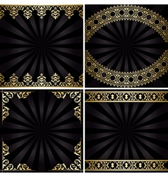 backgrounds with gold decorations and rays vector image vector image