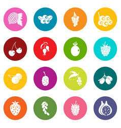 berries icons many colors set vector image