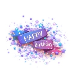 Blue ribbon with Happy birthday title vector image vector image
