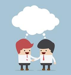 Businessmen shaking hands and blank speech vector image vector image
