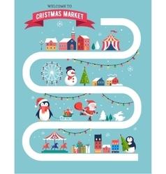 Christmas village Christmas market Xmas fair vector image vector image