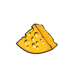 Chunk triangular piece of swiss emmental cheese vector