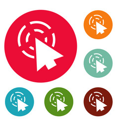 cursor app icons circle set vector image