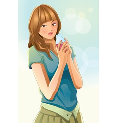 Cute girl drinking juice vector