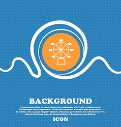 Ferris wheel icon sign Blue and white abstract vector image