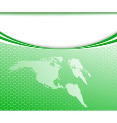 green world map on a card vector image