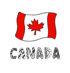 Hand drawn sketch of flag canada with doodle vector