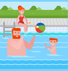 happy caucasian family having fun in swimming pool vector image