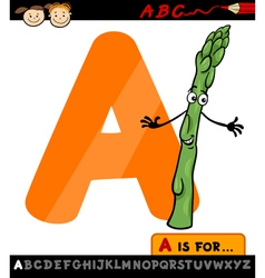 letter a with asparagus cartoon vector image