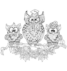 Old Owl on tree branch with small owls vector image vector image