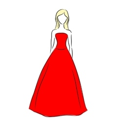 outline of a girl in red dress vector image