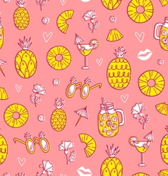 Pineapple mood pattern on pink background vector
