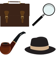 Pipe fedora hat magnifier briefcase vector image