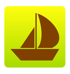 Sail boat sign brown icon at green-yellow vector