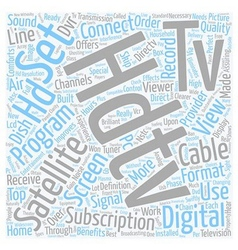 Satellite tv hdtv text background wordcloud vector
