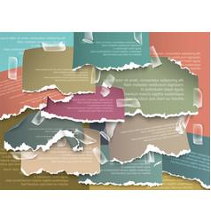 set of design elements ads colorful torn paper vector image