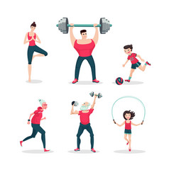 Sport family cartoon people icon set vector