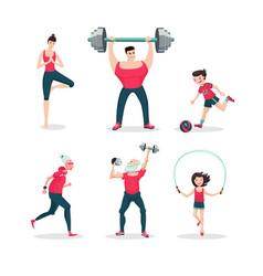 sport family cartoon people icon set vector image vector image