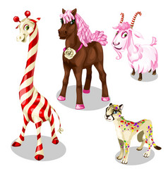 Stylized horse cougar goat giraffe under sweets vector