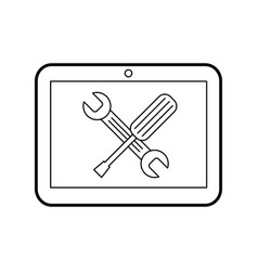 tablet device with tools vector image