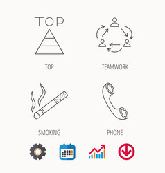 Teamwork smoking and phone call icons vector