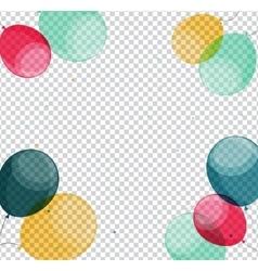 Glossy happy birthday balloons on transparent vector