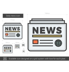 Daily news line icon vector