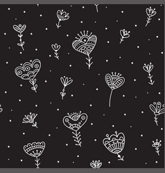 Seamless pattern with ethnic flowers minimal black vector
