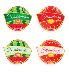 Label of fruit watermelon and strawberry in vector
