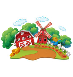 Farm scene with vegetables garden vector