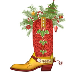 Christmas cowboy bootluxury shoe isolated on white vector