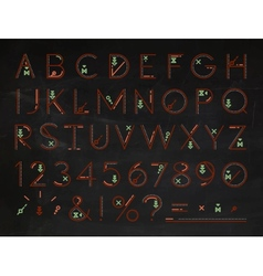 Font flat chalk red vector