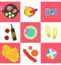 Set of picnic icons and barbeque outdoor family vector