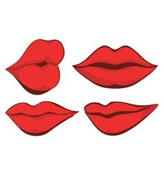 Set sexy red female lips vector