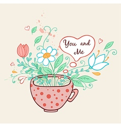 Pink cup of coffee and flowers vector