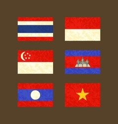 Flags of thailand indonesia singapore cambodia vector
