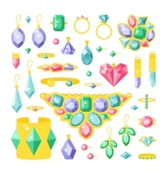 Set of cartoon jewelry accessories items vector image