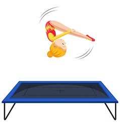 Woman athlete doing gymnastics on trampoline vector
