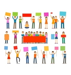 Demonstration or procession parade icons people vector