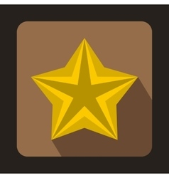 Shiny golden star icon in flat style vector